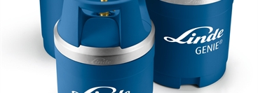 Small, medium and large blue generic Linde branded GENIE gas cylinders